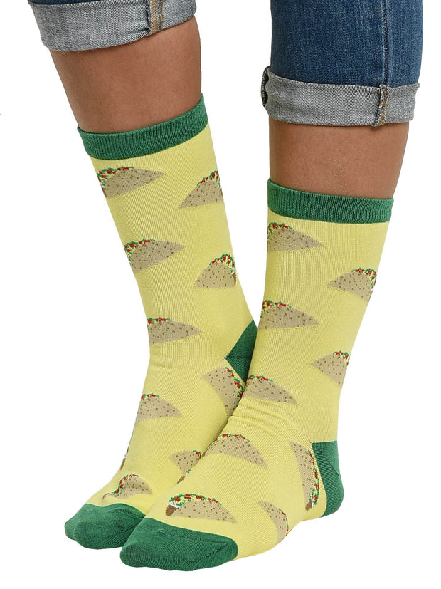 Women's Taco Socks All-Over Food Print Novelty Crew (1 Pair)