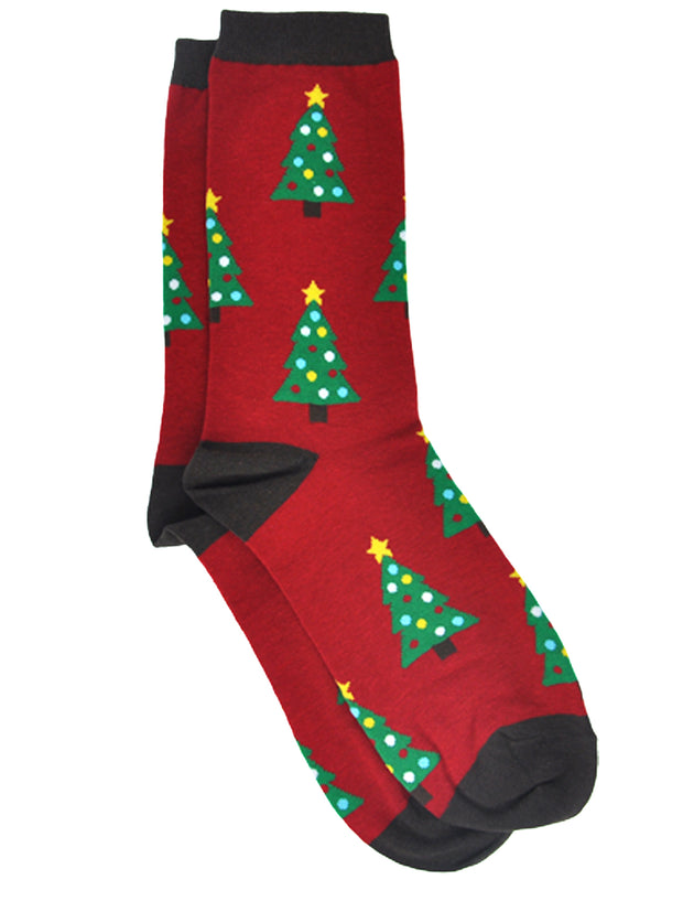 Women's Christmas Tree Socks All-Over Novelty Crew Red