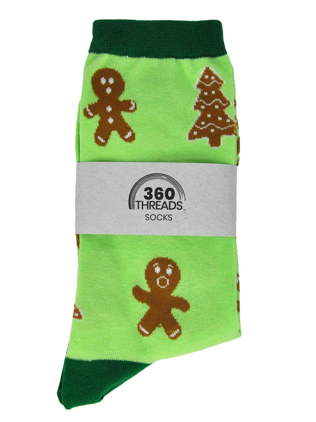 Women's Gingerbread Men Cookie Christmas Novelty Socks All-Over Print Grey Crew