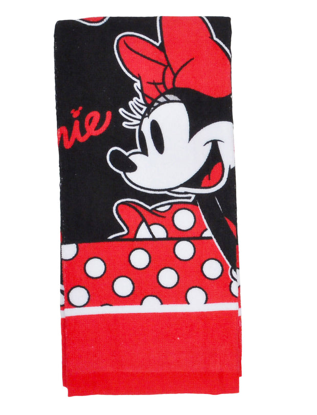 Disney Minnie Mouse Kitchen Towels Oven Mitt Pot Holder 4 Pc Set Black Red
