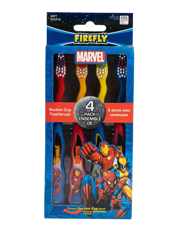 Marvel Heroes Boys Suction Cup Toothbrush 4-Pack Spider-Man Iron Man Wolverine
