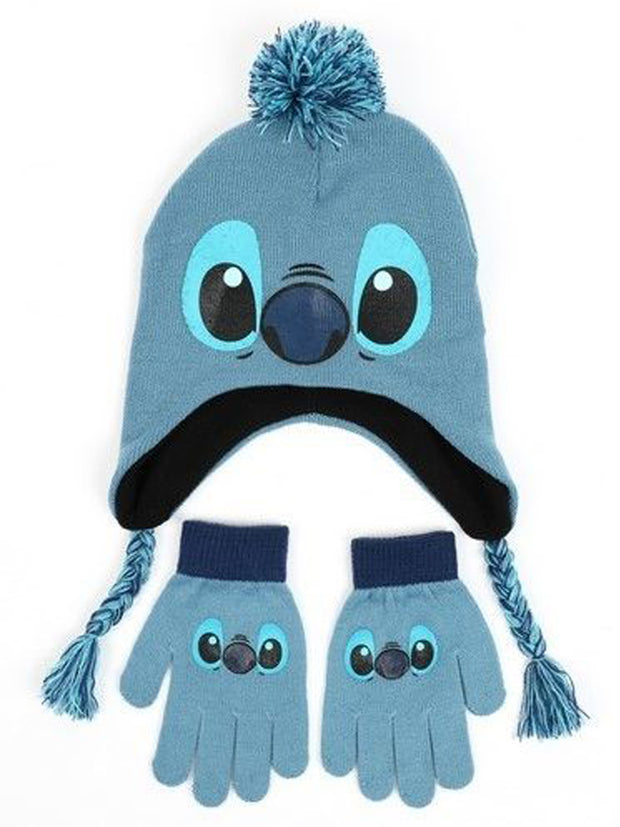 Disney Kids Lilo & Stitch Face Knit Beanie Hat & Gloves Fleece Blue Winter Set