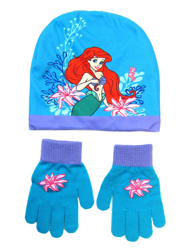 Girls Disney Little Mermaid Ariel Knit Beanie Hat And Gloves 2-Piece Set Blue