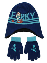 Disney Kids Toy Story 4 Forky Knit Beanie Hat & Gloves Blue Winter Set