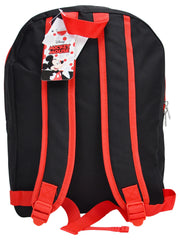 "Boys Mickey Mouse Backpack 15"" Black Red and Markers 8PK Set"