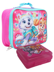 Girls Paw Patrol Skye Everest Insulated Lunch Bag Pink & Sandwich Container