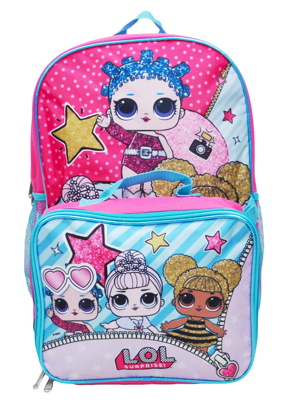 "LOL Surprise Backpack 16"" with Detachable Lunch Bag 2-Piece"
