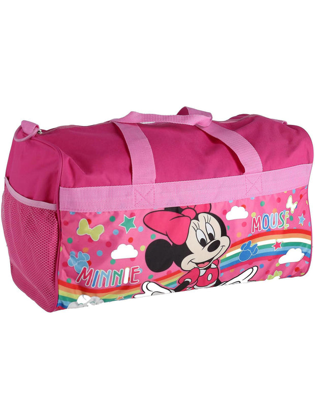 "Disney Minnie Mouse 18"" Duffel Bag Rainbows w/ All-Over Neck Gaiter Face Mask"