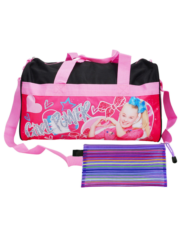 "JoJo Siwa 18"" Duffel Bag Travel Girl Power w/ Cosmetic Travel Accessories Pouch"