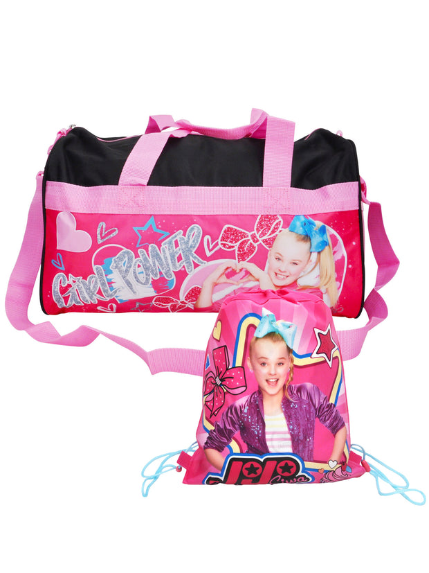 "JoJo Siwa Duffel Carry-On 18"" Black Pink w/ Non-Woven Drawstring Sling Bag"