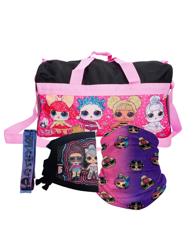 "LOL Surprise Duffel Bag 18"" w/ Kids OMG Neck Gaiter & Kitty Face Mask Strap"