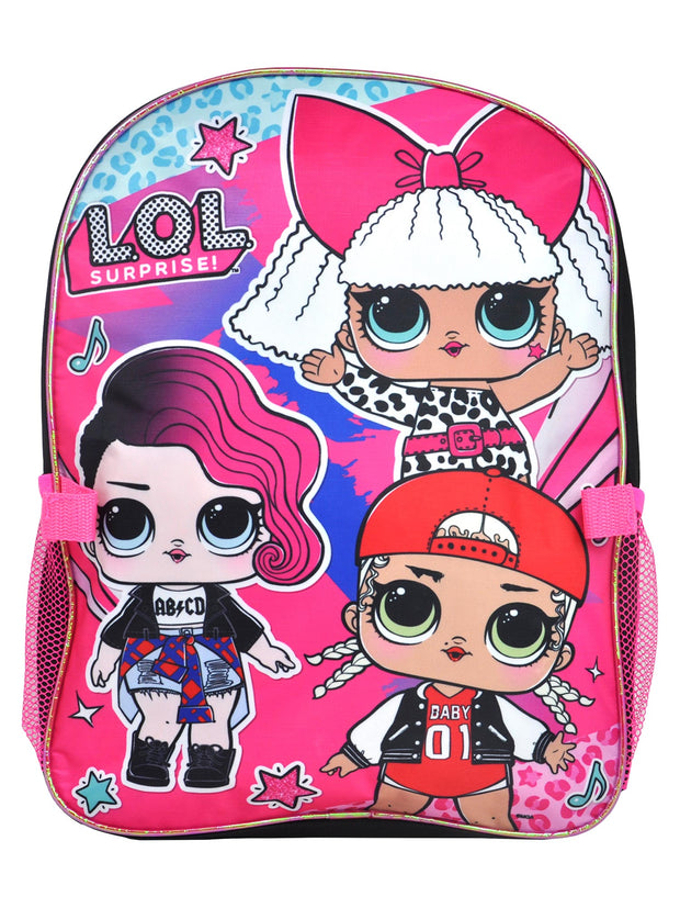 "Girls LOL Surprise! M.C. Swag Diva Rocker Backpack 16"" w/ Detachable Lunch Bag"