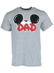 Men's Mickey Mouse Dad T-Shirt Iconic Ears Short Sleeve Gray
