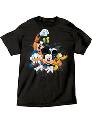 Men's Mickey Donald Goofy Pluto T-Shirt Front & Back Design