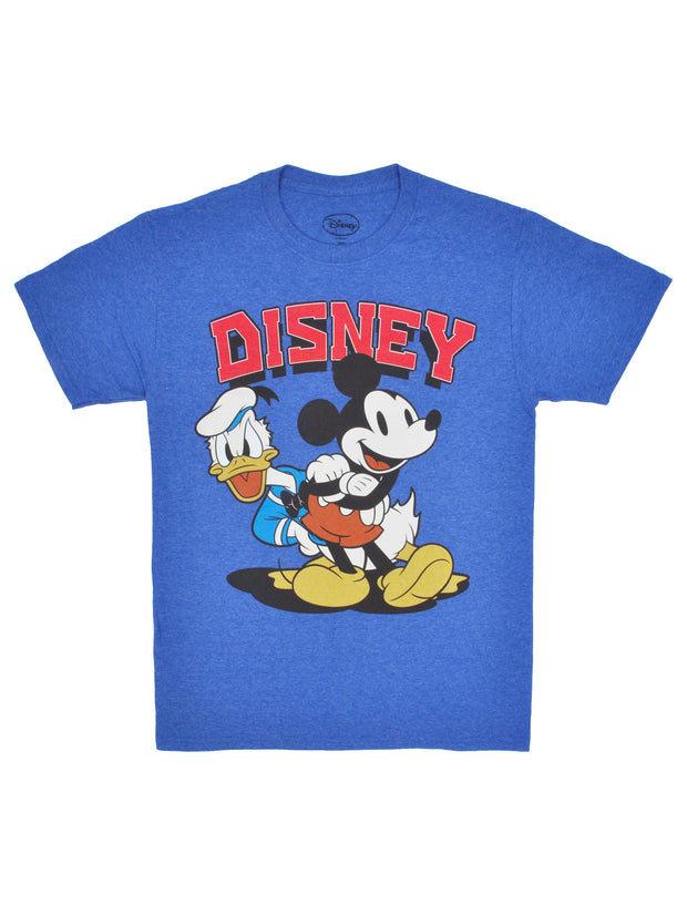 Mens Retro Mickey Mouse Donald Duck T-Shirt Short Sleeve Blue (Size Small)