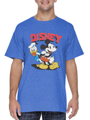 Mens Mickey Mouse Donald Duck T-Shirt Short Sleeve Blue (Size Small Only)