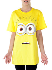 Despicable Me Women's Minion Face Halloween Costume T-Shirt Yellow Short Sleeve