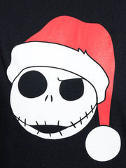 Disney Womens Jack Skellington T-Shirt Christmas Scary Santa Hat Black