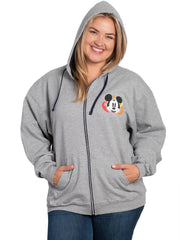 Disney Womens Mickey Mouse Goofy Donald Pluto Zippered Hoodie Sweatshirt Gray