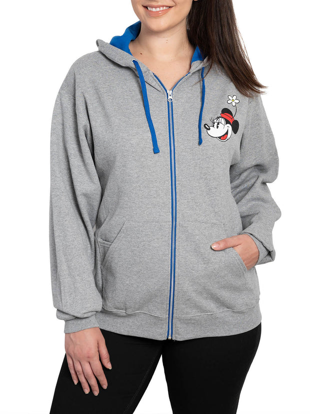 Disney Womens Mickey and Minnie Mouse Holding Hands Zip Up Hoodie Sweatshirt