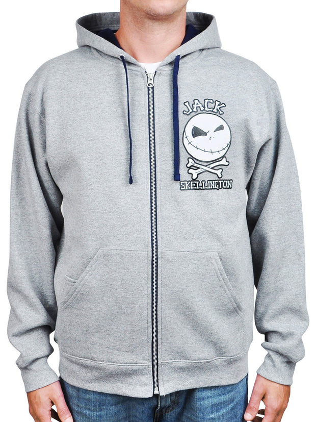 Mens Nightmare Before Christmas Jack Skellington Zip Hoodie Sweatshirt Gray