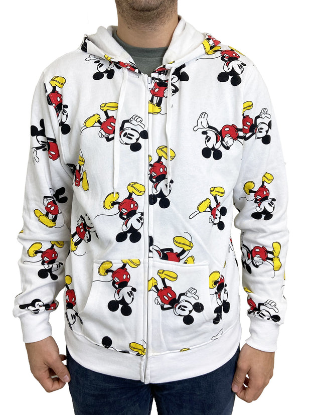 Disney Men's Mickey Mouse All-Over Print Zip Hoodie Sweatshirt White