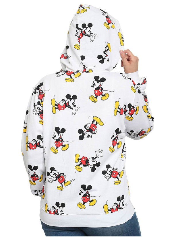 Disney Women's All-Over Print Mickey Mouse Zipper Sweatshirt Hoodie White