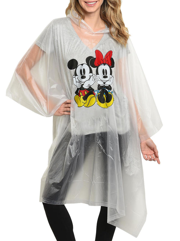 Disney Mickey & Minnie Mouse Women's Adult Rain Poncho Water Resistant