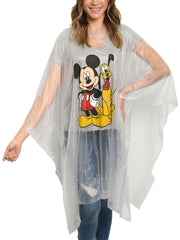 Disney Mickey Mouse & Pluto Women's Adult Rain Poncho Water Resistant