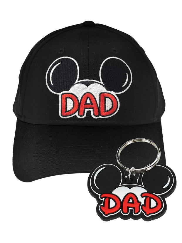Disney Men's Mickey Mouse Dad Black Hat Baseball Cap w/ Dad Key Chain Gift Set