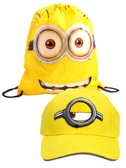 "Despicable Me Adult Minions Baseball Hat Cap w/ Drawstring Tote Bag 15"" Yellow"