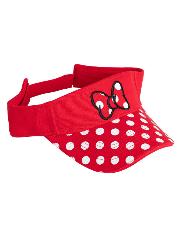 Disney Womens Minnie Mouse Polka Dot Embroidered Stitch Bow Visor Hat Cap Red