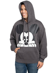 Men's Disney Peeking Mickey Mouse Hoodie Pullover Sweatshirt Charcoal