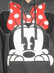 Disney Women Minnie Mouse Red Bow Hoodie Pullover Sweatshirt Peeking Charcoal