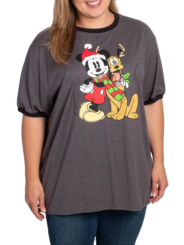 Disney Mickey Mouse Women's Plus Size Christmas Ringer T-Shirt Mickey Pluto Gray
