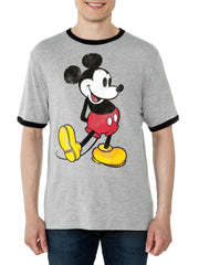 Men's Mickey Mouse Retro Ringer T-Shirt Short Sleeve Gray