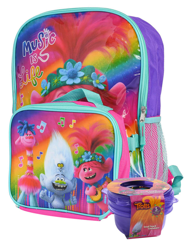 "Trolls Music 16"" Backpack w/ Insulated Lunch Bag & 3-Pack Snack Container Set"