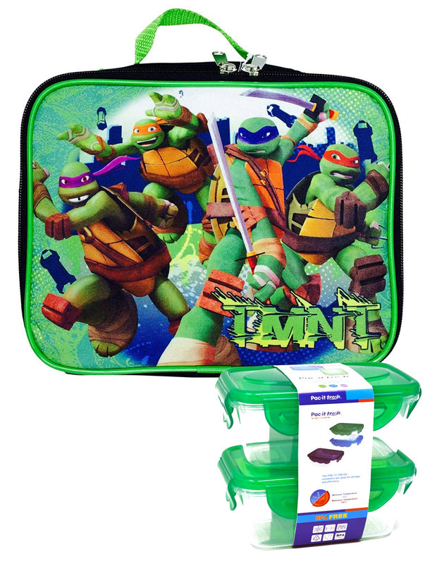 Teenage Mutant Ninja Turtles Boys Insulated Lunch Bag w/ Snack Container Set