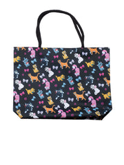 Disney Cats Tote Bag Travel Beach Carry-on Cheshire Aristocat Figaro Print Black