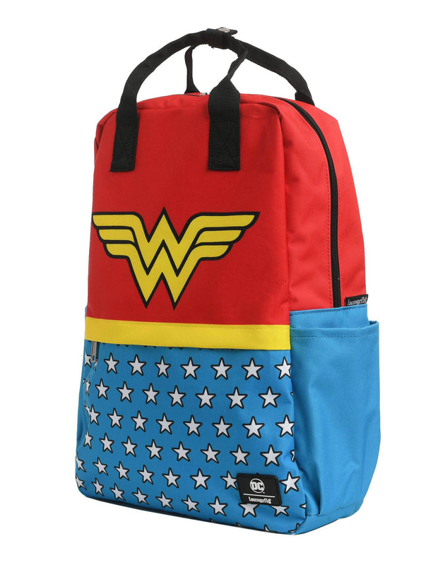"Loungefly x DC Comics Wonder Woman Vintage Square Backpack 17.5"" Nylon"