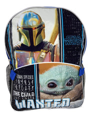 "Star Wars 16"" Backpack & Insulated Detachable Lunch Bag Baby Yoda w/ 8PK Marker"