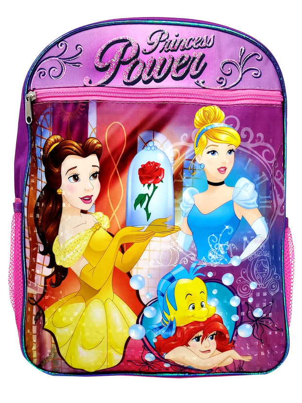 "Disney Princesses Belle Cinderella Ariel Backpack 15"" w/ Pocket Princess Power"
