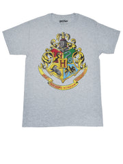 Men's Harry Potter Hogwarts Crest T-Shirt Short Sleeve Gray (Size Medium)