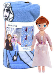 "Frozen II Throw Blanket 45"" x 60"" w/ 10"" Small Anna Plush Doll Toy Set"