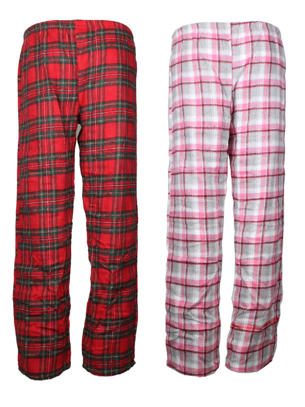 Juniors Womens Red Pink Gray Plaid Fleece Pajama Pants (2 Pack) (Size Small)