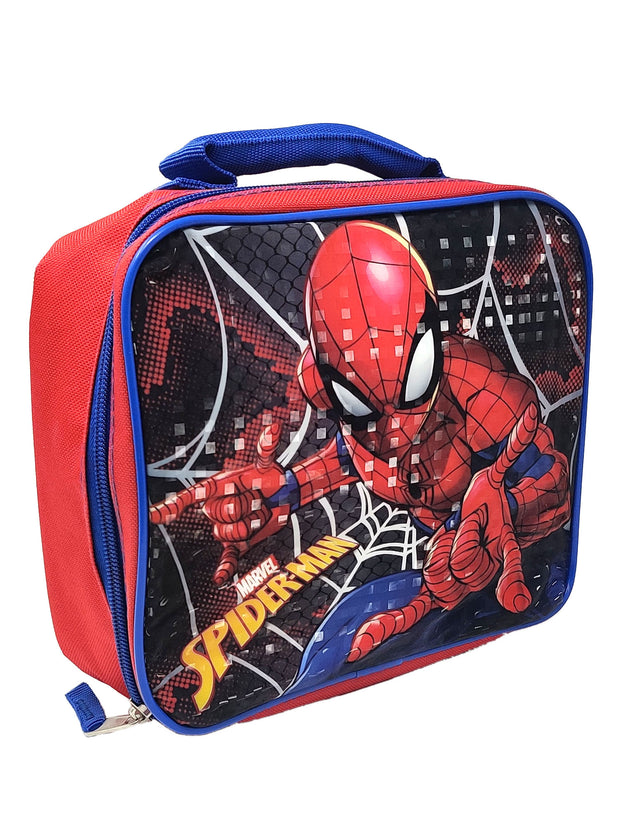 Boys Marvel Spider-Man Insulated Lunch Bag w/ Pull Top 16oz Water Bottle Blue