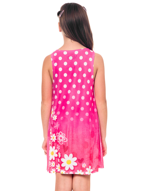 Girls Minnie Mouse Tank Dress Pink Polka-Dot Flowers Sublimated Print