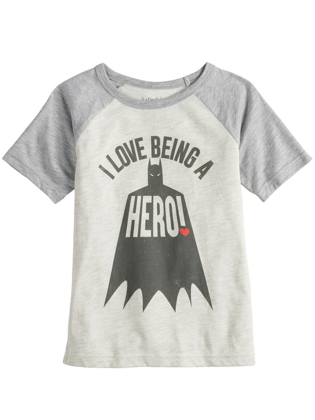 "Boys Jumping Beans DC Comics Batman ""I Love Being A Hero"" Raglan T-Shirt Gray"