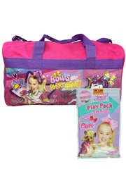 "JoJo Siwa 17"" Duffel Bag Unicorns Shoulder Strap w/ Grab & Go Play Pack Crayons"
