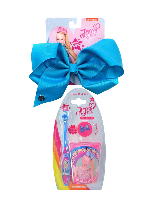 JoJo Siwa Girls Large Blue Bow & Toothbrush Cap w/Rinsing Cup (3-Pcs) Set